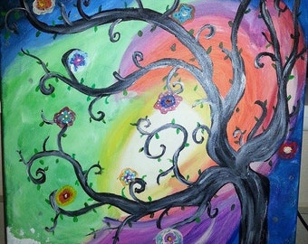 Colorful tree ocean sunset canvas painting