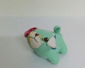 Tiny Minty Green Grumpy Pug