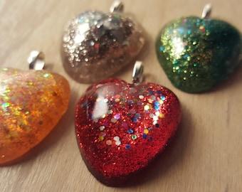 Heart Shaped Glitter Shiny Pendant Necklace
