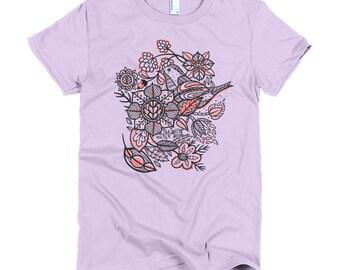 Spring flowers and birds Women t-shirt, American Apparel tee, soft t-shirt, women's Graphic Tee, women's Small to 2XL cute shirt