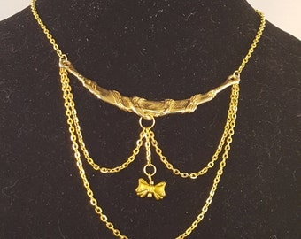Gold Chain Necklace with Hanging Bow Charm