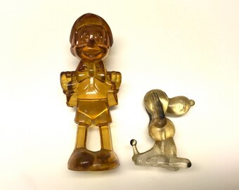 Vintage Resin Figurines, Pinocchio and Snoopy Characters. Miniature Vintage Figures.
