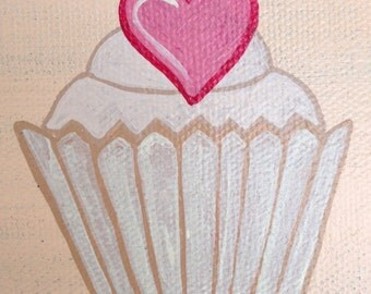 A row of cupcakes on canvas (shown on photo 2)