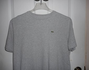 MEN'S LACOSTE Grey Short Sleeve Tee Shirt Size 7 Large