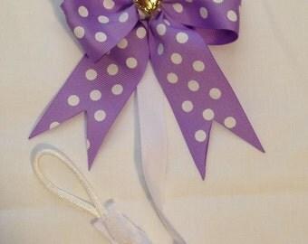 Purple Dot Bow Pacifier Clip