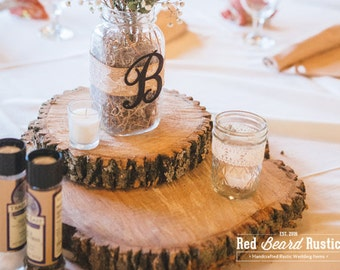Two-Tier Rustic Log Slice Table Centerpieces