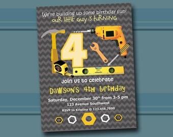 Tools Birthday Invitation, Under Construction Birthday Party, Printable Tools Theme Invite, Boy Building Tools Invitation. Digital you print