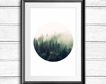 Forest Print, Forest Photography, Nature Print, Nature Photography, Forest Printable, Tree print, Nature art, Forest, Printable artwork, Fog