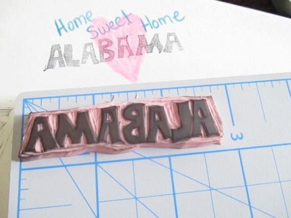 Alabama Hand Carved Stamp, Rubber Stamp, State Stamp, Word Stamp, Word Rubber Stamp, Alabama Rubber Stamp, Hand Carved Stamps, Rubber Stamp