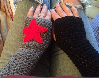 Winter soldier arm warmers fingerless gloves mittens bucky barnes captain america