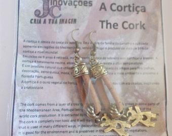 Handmade earrings two golden girls,portuguese natural cork
