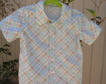 Boys Button Down Collared Shirt, 100% Cotton, Handmade