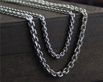 18/20/22/24 inches Sterling Silver Cross Chain,3.0- 4.0mm Dia,Silver Rolo Chain, Silver O chain,  Sterling Silver Necklace,Finished chain