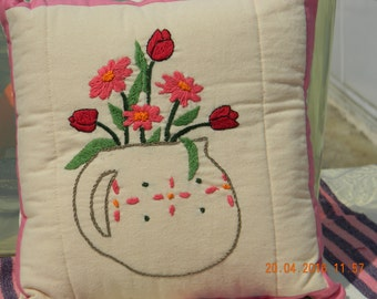 Pink Daisy & Red Tulip Embroidered Pillow