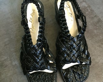 Shiny Black Vinyl Woven Slingback Sandals Size 5