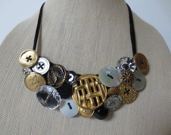 Statement Button Bib Necklace Gold