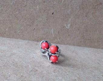 Modernist Sterling Silver Vintage Red Coral Ring