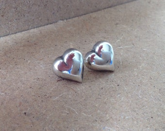 Danish Sterling Silver Hand Crafted Heart Studs