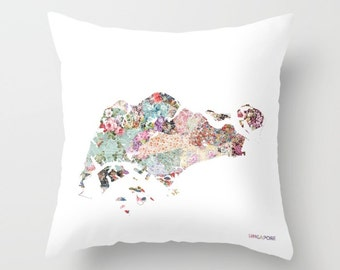 SINGAPORE map pillow | Pillow Painting | Singapore pillow | Painting of Singapore | Pillow map | Throw Pillow | Flowers compositions
