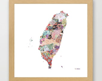 TAIWAN MAP, flowers composition, roses, Giclee Fine Art, Poster Print