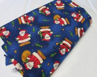 Blue Santa Fabric 1 1/2 yard cut