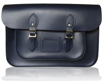 "14"" Classic Leather Satchel 100% Real Leather - Navy Blue"
