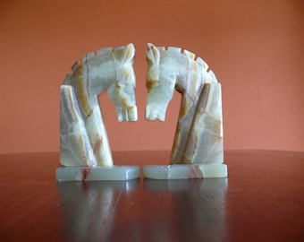 Mid Century Onyx Marble Horse Bookends, Vintage Home Office Library Decor