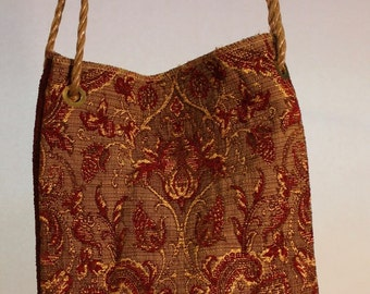 Large Fabric Bag in Gold and Burgundy Item #B74
