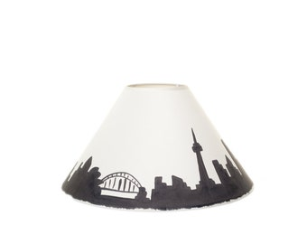 Handpainted Lampshade - Cityscape Design, Coolie, Landscape, lighting, home decor, lamp, city