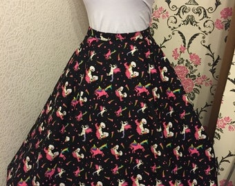 Florence Rainbow Unicorns Full Circle Skirt