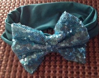 Blue Headband Turban With Blue Glitter Bow
