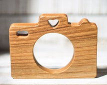 Wooden Teether Camera Toy - Natural Beech Wood Baby Shower Gift - Organic Newborn Teether