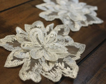 White 3D flower lace applique, two layers lace flower, 5*4 inches, priced for a pair of two