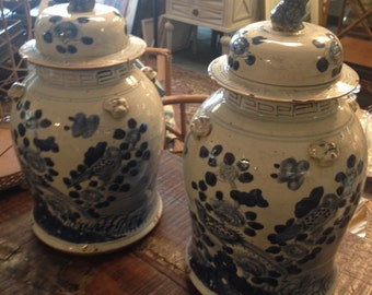Blue and White Ginger Jar Pair