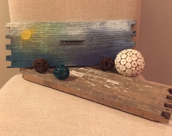 Rustic Hand Painted/ One of a Kind / Beach Theme / Recycled Wood from Beehives / Reclaimed Wood