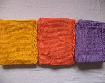 Baby blanket wool of blanket 100 cm x 80 cm knitted wool yellow orange purple