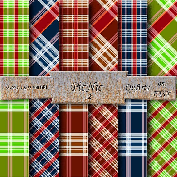 Gingham Digital Paper   Patterns   Buffalo Check Picnic Tablecloth    Gingham Tablecloth   Plaid   Apple Green   Ruby Red   Navy Blue   Brown  From ...