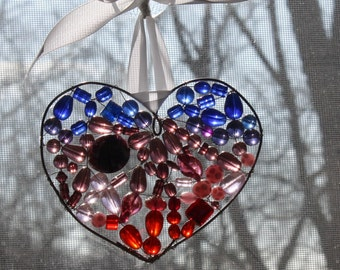 Purple and Red Beaded Heart Suncatcher