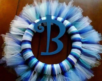 Blue tulle wreath with letter.