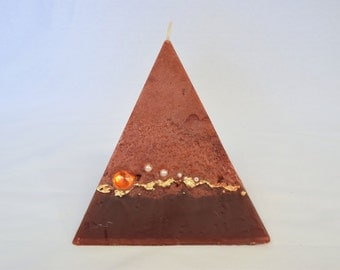 Artisan Pyramid Shaped Candle - Brown