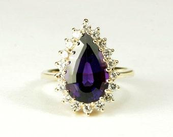 14K Amethyst Diamond Ring - Dark Purple Alluring Gemstone!