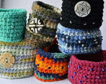 Crochet cotton stretch wristband / coffee sleeve / bracelet, made to order!