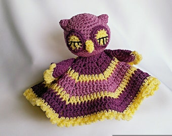 "PDF: Lovey ""Sleepy Owl"" - Mini Cuddly Blanket Crochet Pattern"