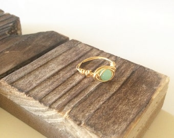 Aventurine stone wrapped ring