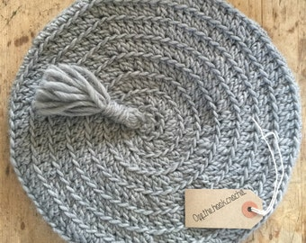 Grey Crocheted Beret