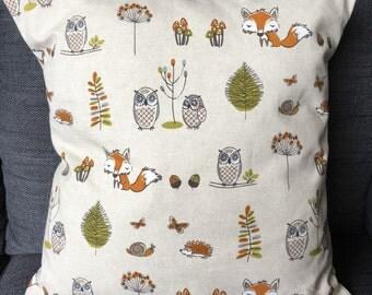 Woodland Owl Fox Hedgehog Cushion cover