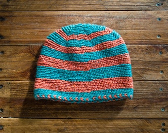 Hand woven Moroccan wool hat in blue and orange