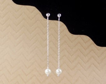 Long pearl necklace,bridal earrings,bridal jewelry,pearl thread earrings,dangle pearl necklace,sterling silver thread earrings