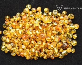 Polished Natural Baltic Amber Beads Loose Beads, Drilled, Baroque Style, 4-7 mm size, 25 Grams,  PB-005