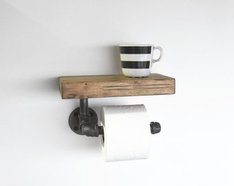 Industrial Pipe Toilet Paper Holder with Rustic Shelf, Bathroom Tissue Dispenser, Iron Pipe TP Holder